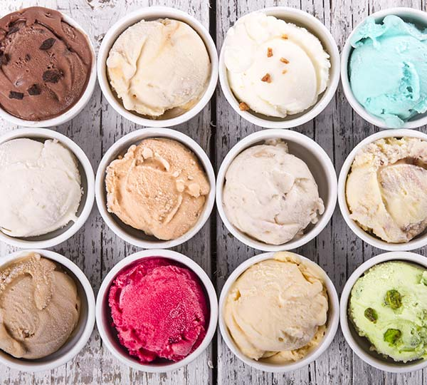 12 Cups of Different Gelato Flavours