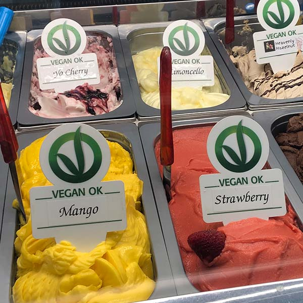 Close up of Vegan Gelato Flavours