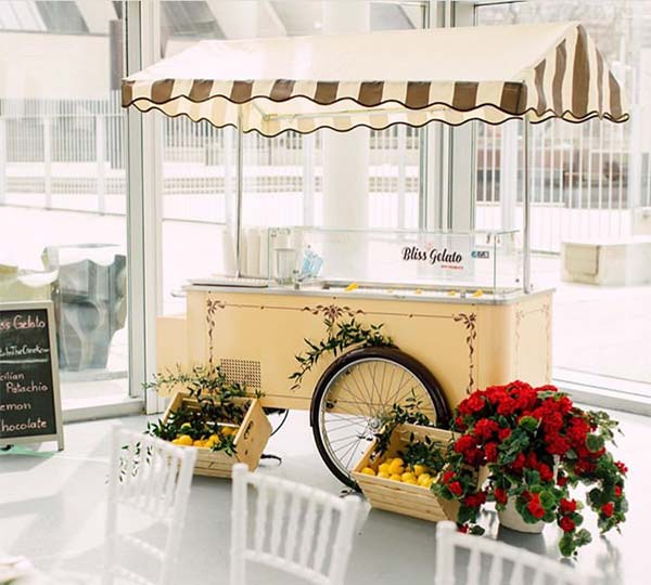 Vintage Gelato Cart on display